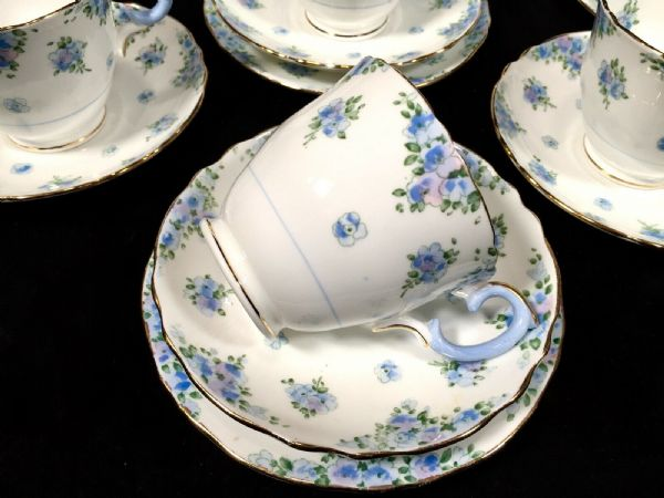 Antique Crown Staffordshire Tea Set for 6 People / Vintage Bone China Trios Blue